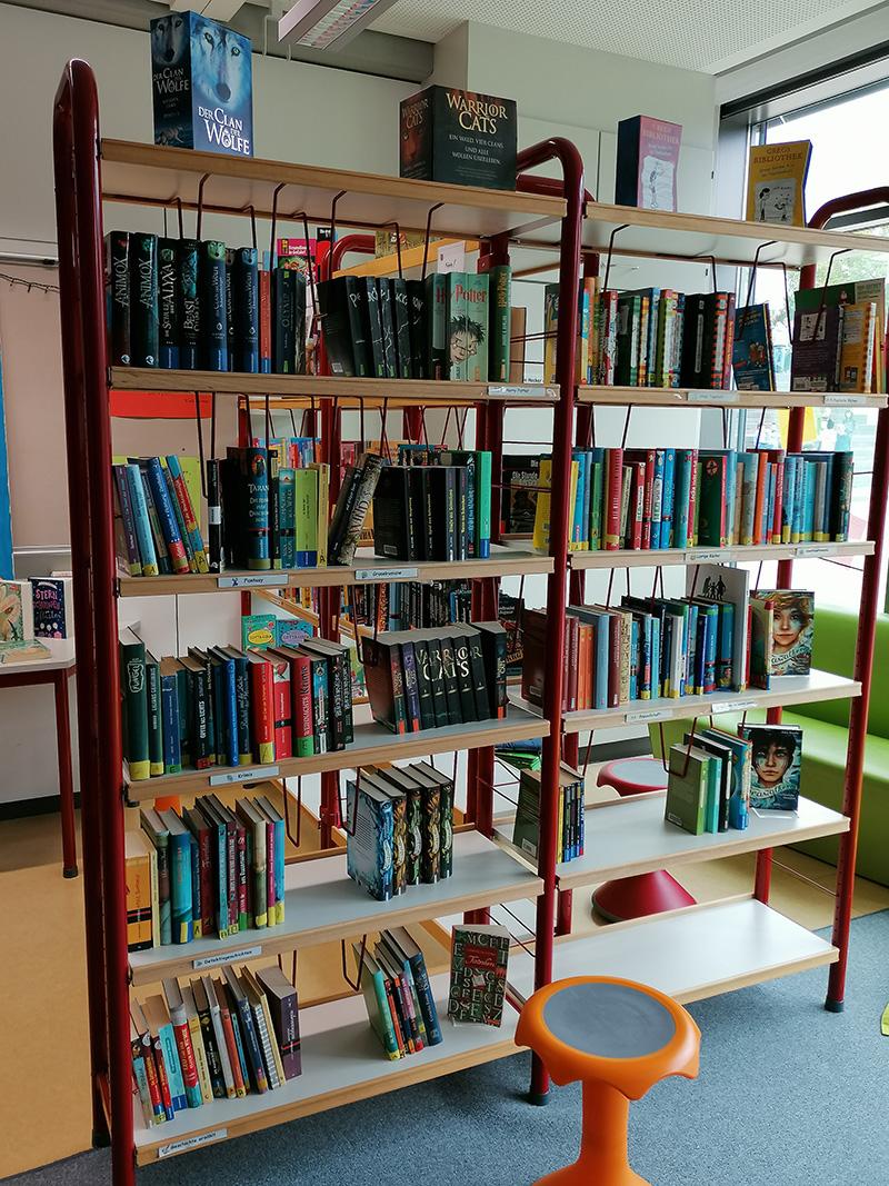 Unser gefülltes Bücherregal in unserer Schülerbibliothek