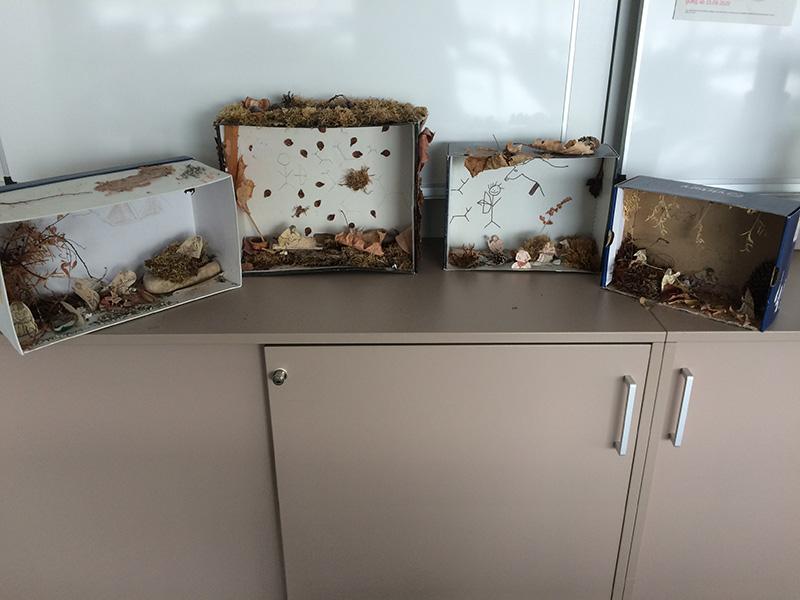 Aus Schukartons gebastelt - Steinzeithöhlen